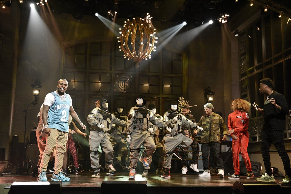 """DaBaby Performs """"Bop"""" and """"Suge"""" on SNL"""