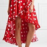 Caroline Constas Adelle Asymmetric Ruffled Polka-Dot Cotton Skirt