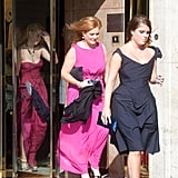 Fergie, Beatrice, and Eugenie walked in a single-file line leaving the hotel.