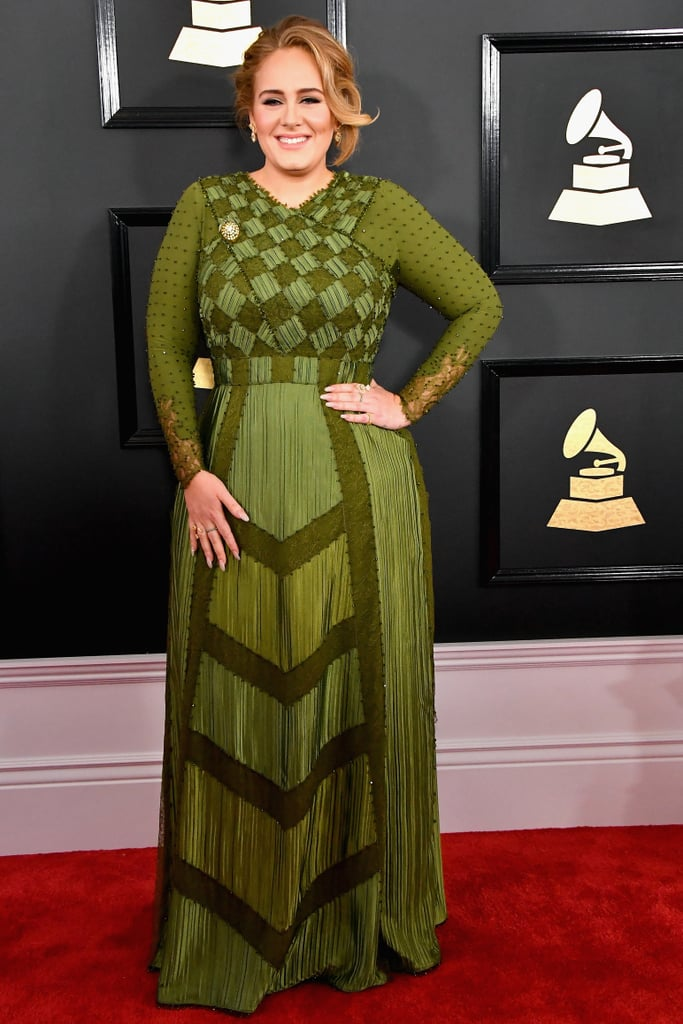"Adele breezed onto the Grammys red carpet like a breath of fresh air on Monday. The singer, who stirred up marriage rumours when she was spotted wearing a gold band on her ring finger last month, stunned in a gorgeous green gown and was all smiles as she made her way down the red carpet and waved to nearby fans. It's set to be a big night for the ""Hello"" singer; not only will she be taking the stage for a performance that will surely blow us away, but she's also nominated for five awards tonight, including album of the year against Beyoncé, Justin Bieber, Drake, and Sturgill Simpson. We're rooting for you, Adele!"