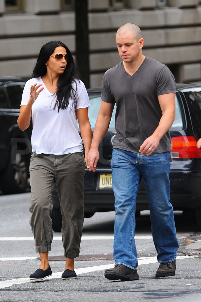 Matt Damon with wife Luciana Damon in NYC.