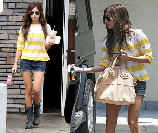 Ashley Tisdale in LA Wearing White and Yellow Striped Sweater, Denim Cutoffs, and Frye Boots