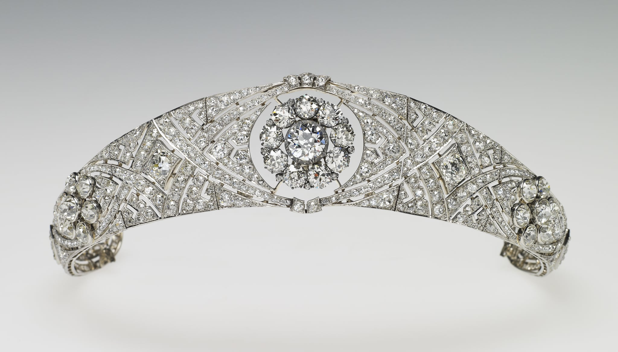 UNSPECIFIED - UNDATED: In this undated handout image released by the Royal Household, Queen Mary's Diamond Bandeau, is pictured, which is being worn by Meghan Markle for her wedding to Prince Harry on May 19, 2018. It was specifically made for Queen Mary in 1932 to accommodate in the centre the detachable brooch given as a present for her own wedding in 1893 by the County of Lincoln. The bandeau, chosen from Her Majesty's collection, is formed as a flexible band of eleven sections, pierced with interlaced ovals and set with large and small brilliant diamonds. The centre is set with the detachable brooch of ten brilliant diamonds. The bandeau and the brooch were bequeathed by Queen Mary to The Queen in 1953. (Photo by Royal Collection Trust via Getty Images)(NOTE TO EDITORS: This handout photo may only be used in for editorial reporting purposes for the contemporaneous illustration of events, things or the people in the image or facts mentioned in the caption. Reuse of the picture may require further permission from the copyright holder.)