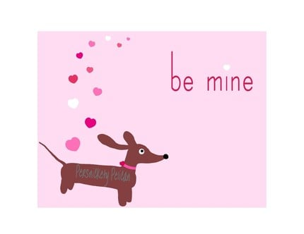 Doxie Love Valentine Card with Coordinating by persnicketypelican ($2.80)