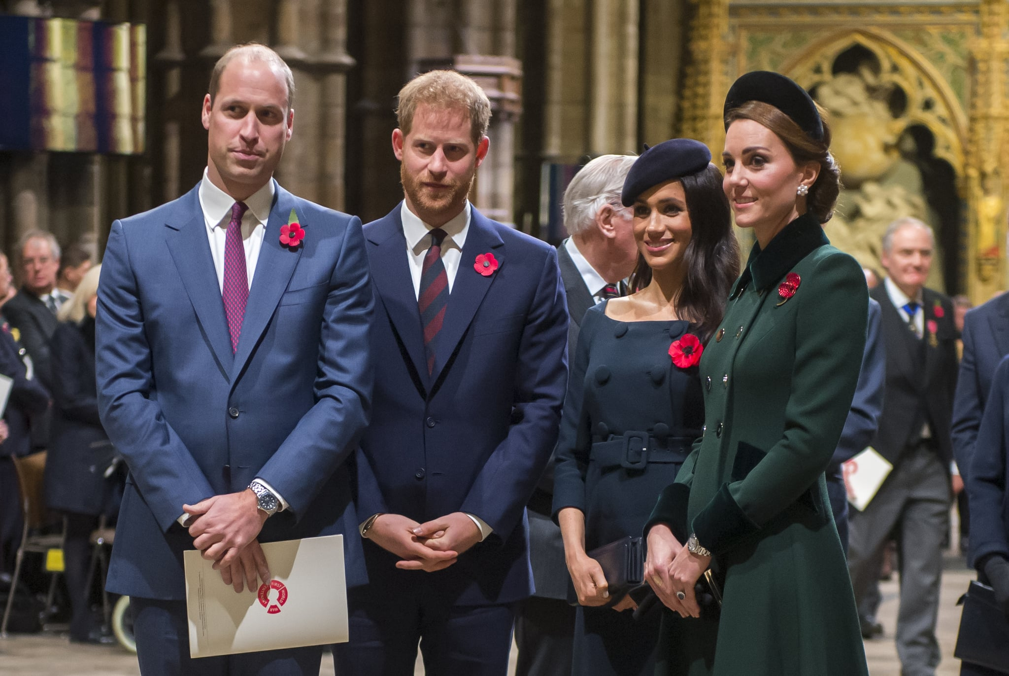 LONDON, ENGLAND - NOVEMBER 11: Prince William, Duke of Cambridge and Catherine, Duchess of Cambridge, Prince Harry, Duke of Sussex and Meghan, Duchess of Sussex attend a service marking the centenary of WW1 armistice at Westminster Abbey on November 11, 2018 in London, England. The armistice ending the First World War between the Allies and Germany was signed at Compiègne, France on eleventh hour of the eleventh day of the eleventh month - 11am on the 11th November 1918. This day is commemorated as Remembrance Day with special attention being paid for this year?s centenary.  (Photo by Paul Grover- WPA Pool/Getty Images)