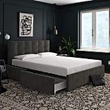 Grey Velvet-Queen Upholstered Bed