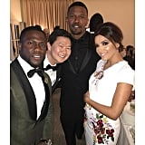 """""""The name of this picture is 'Multicultural' 😂😂😂😂😂 Backstage chronicles at the Golden Globes with @iamjamiefoxx @kenjeong & @evalongoria #GoldenGlobes"""""""