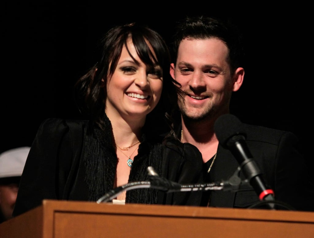 Nicole Richie and Joel Madden took the microphone during an April 2010 award show in LA.
