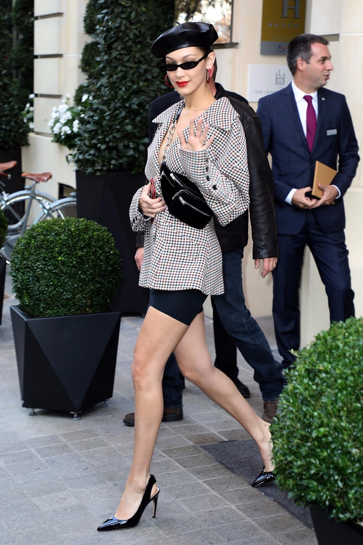 Bella Hadid Wearing Blazer and Biker Shorts in Paris | POPSUGAR ...