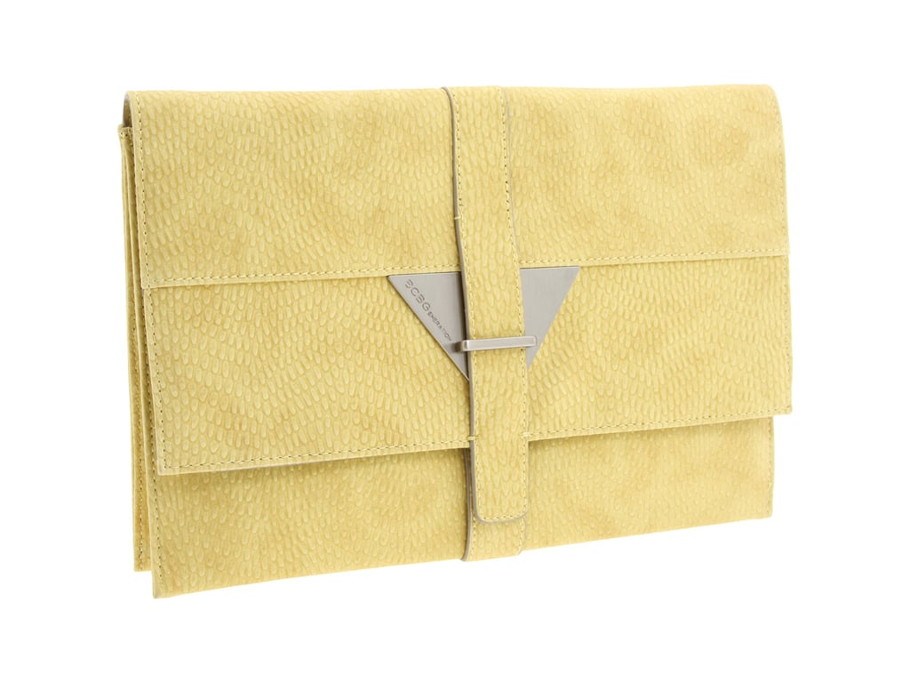This sleek handheld number offers all the elegance of any evening clutch in a cool lemon hue.  BCBGeneration Julia Clutch ($78)