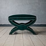 Graham and Green Green Velvet Footstool