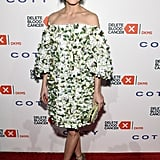 Olivia Worked Her Off-the-Shoulder Marchesa Dress With a Complementing Embellished Clutch