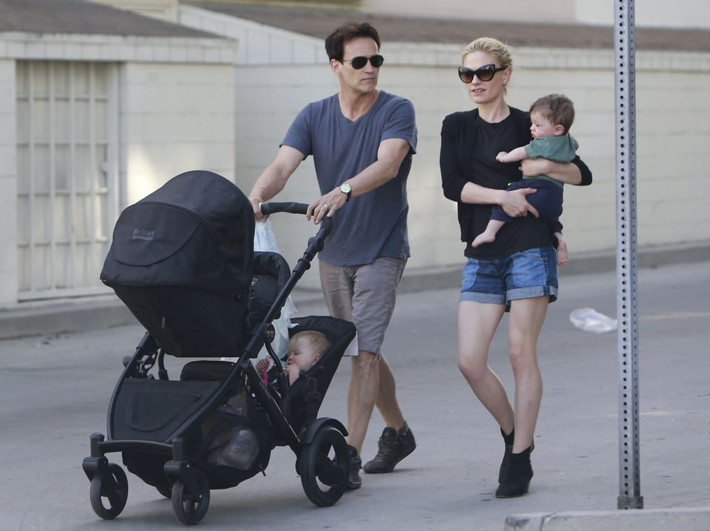 Anna Paquin and Stephen Moyer took their twins, Charlie and Poppy, for a stroll around the Venice neighborhood in LA yesterday. The pair had their little ones in tow for a sunny Saturday after leaving them at home for a big night out two weeks ago. Anna and Stephen showed PDA on the red carpet for their True Blood season six premiere, where he revealed the names of their twins after months of anticipation. Anna gave birth to Charlie and Poppy back in September, and the couple waited nine months to share their monikers. They are not the only stars to take their time revealing the name news — see all the stars who waited to reveal their babies' names.
