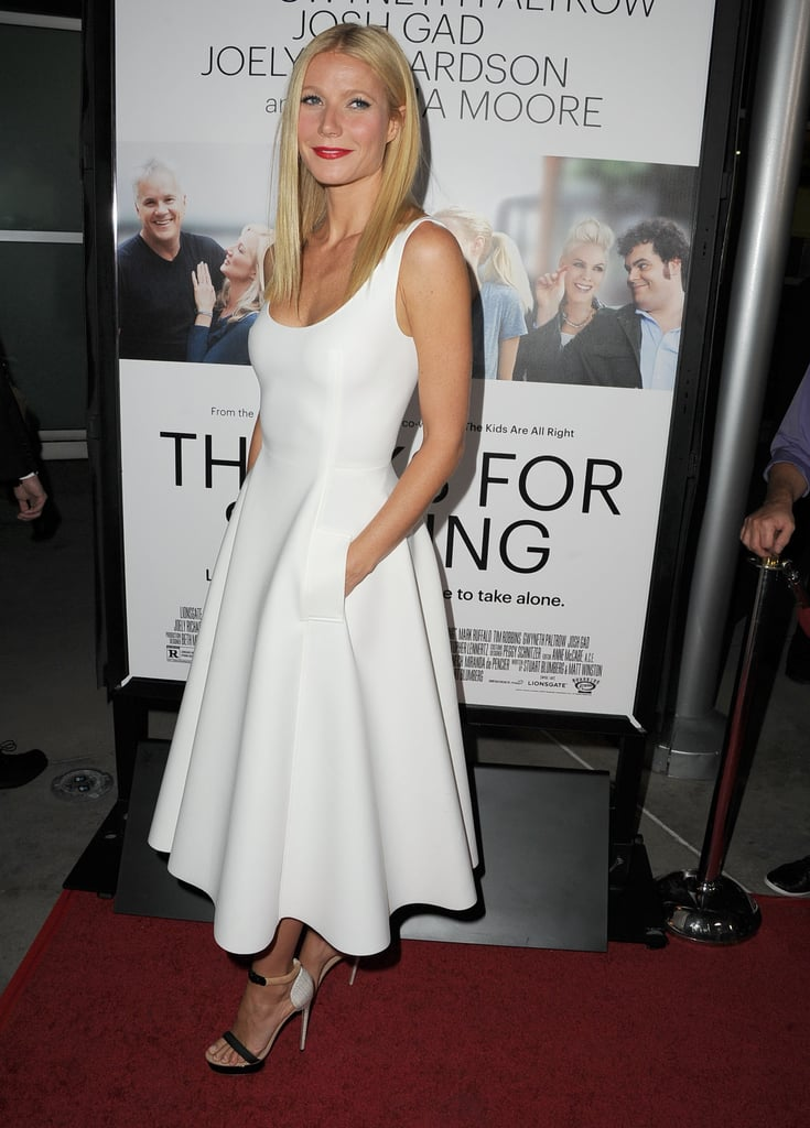 Gwyneth Paltrow was sleek (and chic) in a white fit-and-flare Lanvin dress at the Thanks For Sharing premiere in LA. Her colorblock Nicholas Kirkwood ankle-strap sandals were the perfect companions.