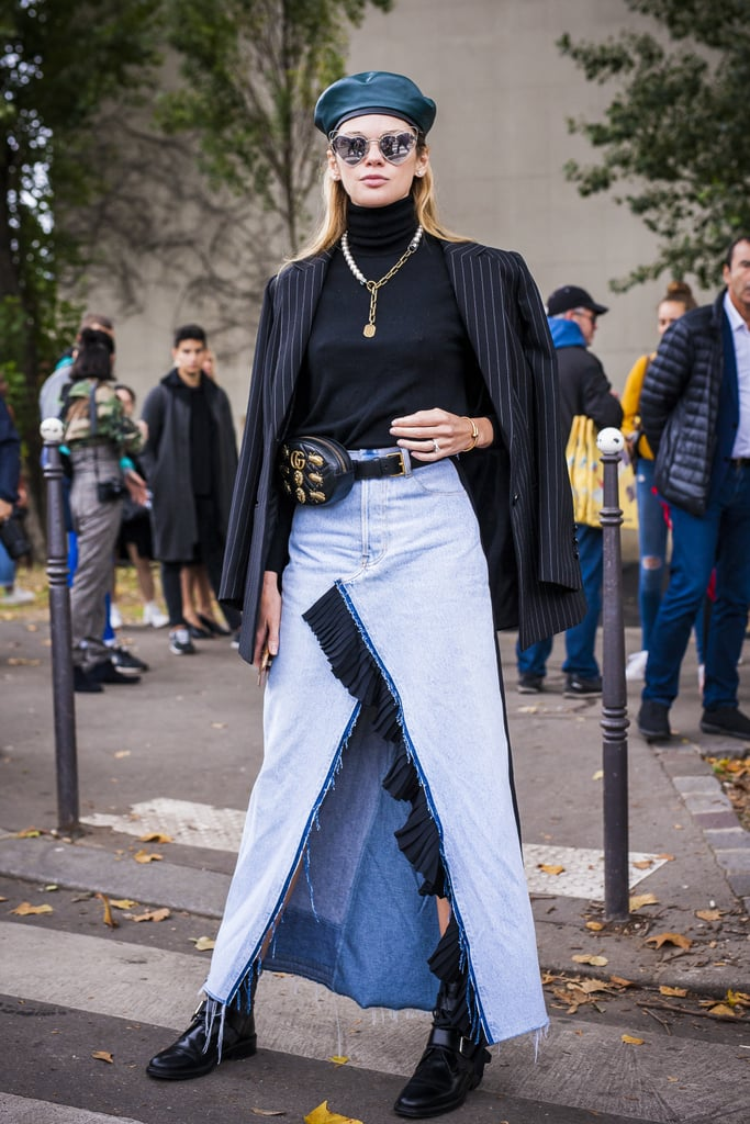 Style One With a Long Denim Skirt, a Turtleneck Sweater, and a Beret