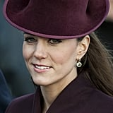 The first time Kate wore her green amethyst and diamond earrings by her favourite designer, Kiki McDonough, was on Christmas Day 2011. It seems as though they were her Christmas present from William marking their first festive season as a married couple.