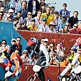 David Beckham watched the Olympic BMX finals with Romeo Beckham, Cruz Beckham, and Brooklyn Beckham.