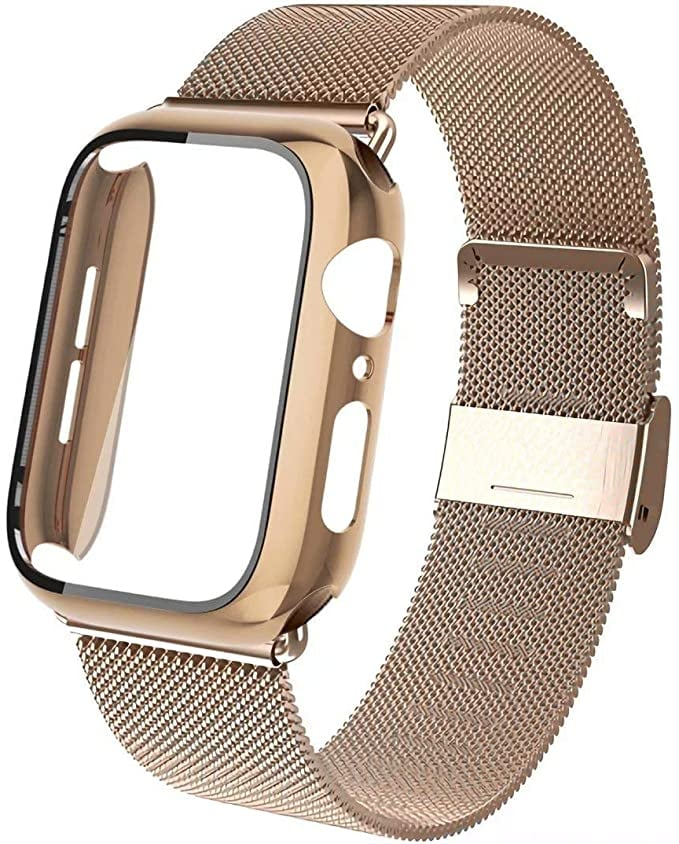 Aipeariful Stainless Steel Mesh Loop Wristband with Screen Protector Hard Case
