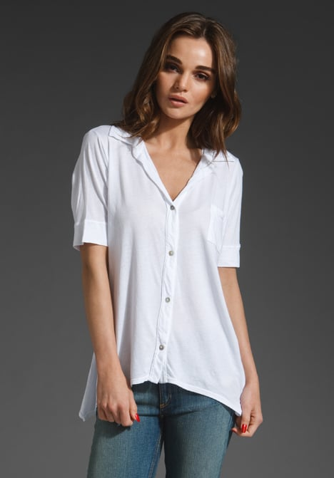 A slightly relaxed play on the classic white button-down feels just right for Spring and Summer — just the thing for giving a femme maxi skirt a little boyish charm.  LA Made Cotton Modal Button Down ($83)