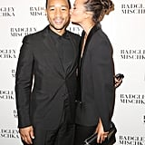 Chrissy showed love to John backstage at the Badgley Mischka fashion show during NYFW in September 2013.