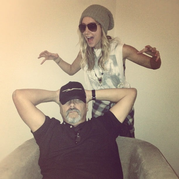 Ashley Tisdale snuck up on her sleeping dad. Source: Instagram user ashleytis