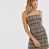 Monki Check Mini Dress With Spaghetti Strap