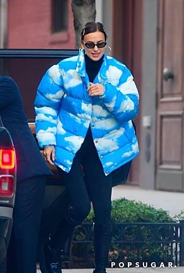 Irina Shayk Wearing a Cute Cloud-Print Moschino Puffer