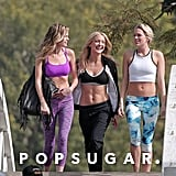 Kate Hudson flaunted her abs during a photo shoot for her Fabletics brand in LA on Friday.