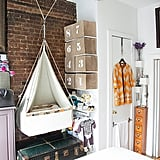 Think vertical when it comes to squeezing a nursery into a tiny apartment.  A few feet provide enough space to hang a beautiful bassinet. Learn more about this NYC apartment nursery here.