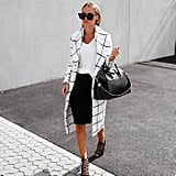 A White Tee, a Black Pencil Skirt, a Statement Coat, and Heels