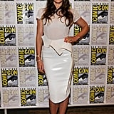 Jessica Biel stunned in an all-white ensemble, injecting only a flash of color via her neon pink pumps.