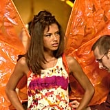 Adriana Lima gets suited up in her wings in 2002.