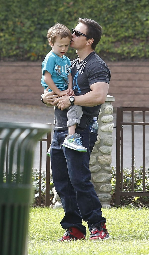 Mark Wahlberg doted on son Brendan yesterday when he took the tiny tot to a park in Beverly Hills. The father-son pair were joined by one of Mark's friends as they passed around a football and Brendan shot hoops on a mini basketball court. Mark got in time with his little one ahead of a busy April. Not only is his new movie with Michael Bay, Pain & Gain, coming out on April 26, but he's also up for three honors at next month's MTV Movie Awards. Mark Wahlberg is nominated for best onscreen duo with Seth MacFarlane, best fight, and best kiss with Mila Kunis, all from his stint in Ted.