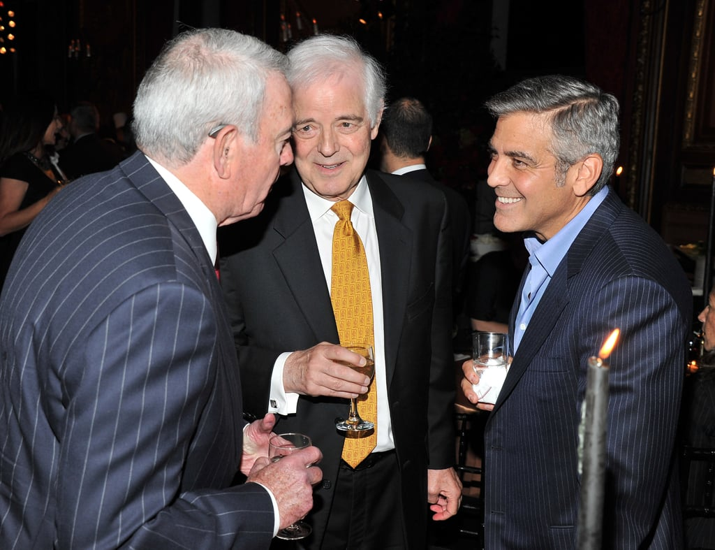 Journalist Dan Rather, Nick Clooney, and George Clooney attend the afterparty for the premiere of The Ides of March.