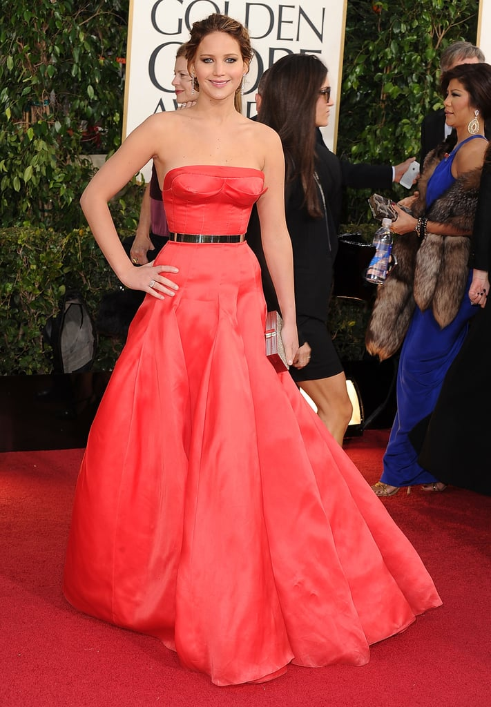 Jennifer Lawrence in Red Dior Haute Couture Dress