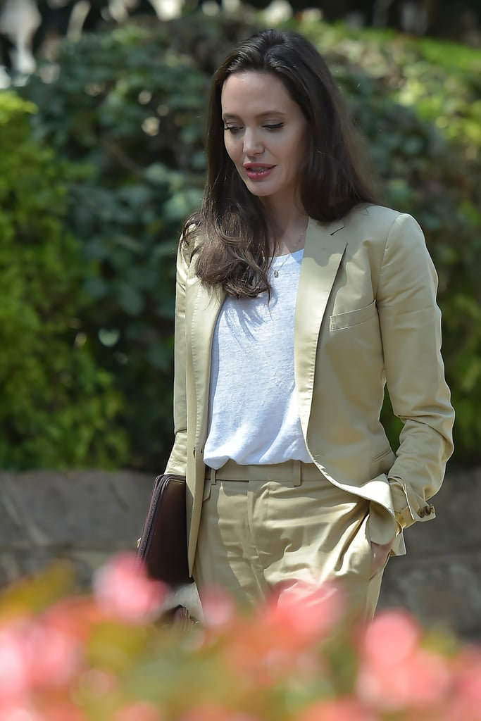 Angelina Jolie Everlane T Shirt With Suit Popsugar Fashion