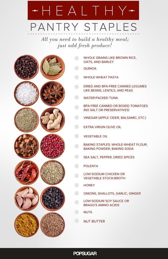 picture regarding Pantry Staples List Printable named Simple Healthful Pantry Products and solutions POPSUGAR Exercise