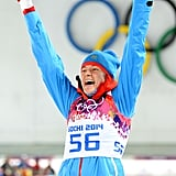 Olga Vilukhina of Russia was all smiles after winning the silver medal for the women's biathlon sprint.