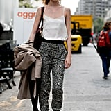 Effortless and breezy in printed pants.