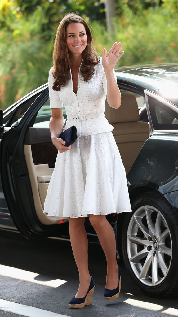 Kate Middleton waved as she got out of the car at the Gardens by the Bay in Singapore.
