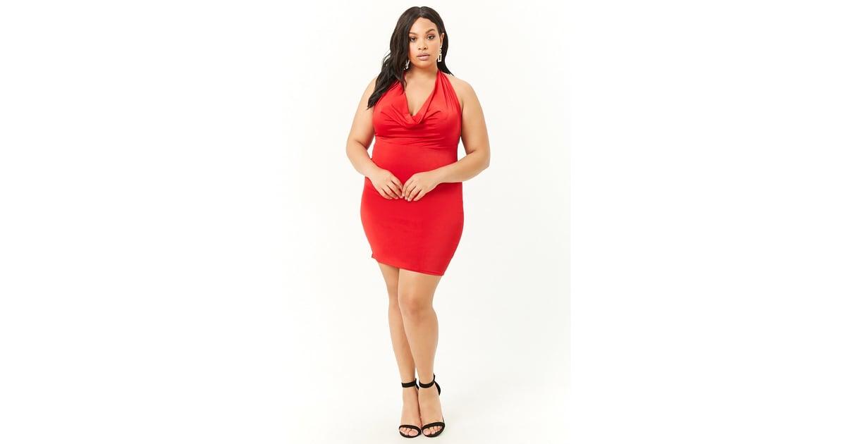 Forever 21 Mini Halter Dress | Hailey Baldwin Red Dress ...