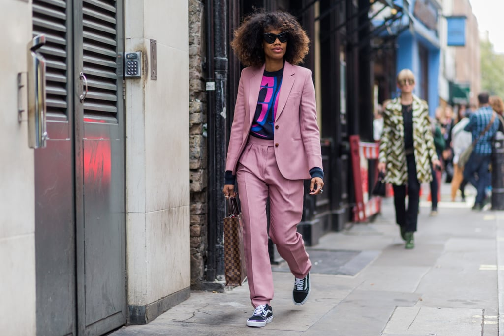 With a Pastel Suit and Graphic Top