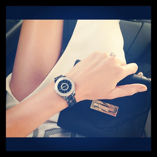 Jennifer Hawkins' accessories: Balmain clutch and Dior watch. Lovely! Source: Instagram user jenhawkins_