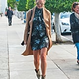 A High-Neck Dress and Booties
