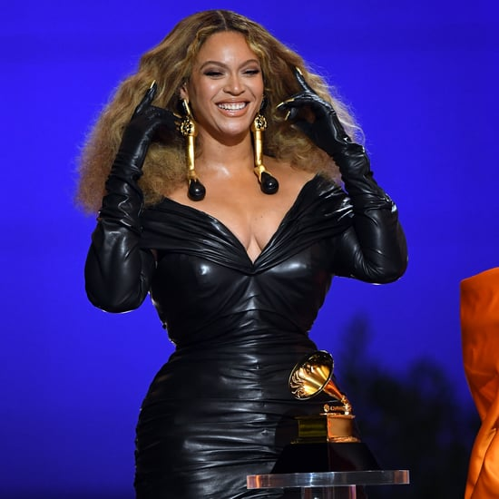 Beyoncé's Schiaparelli Leather Dress at the 2021 Grammys