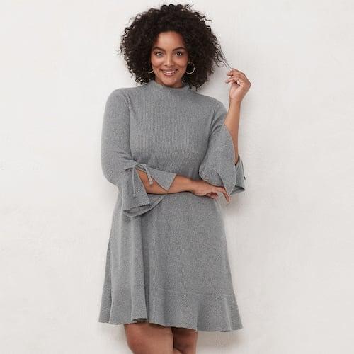 LC Lauren Conrad Plus Size Mockneck Swing Sweater Dress ...