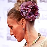 Sarah Jessica Parker gave us a lesson in how to wear hair flowers when she teamed this big bloom with a voluminous bun for a trip to the ballet in 2012.
