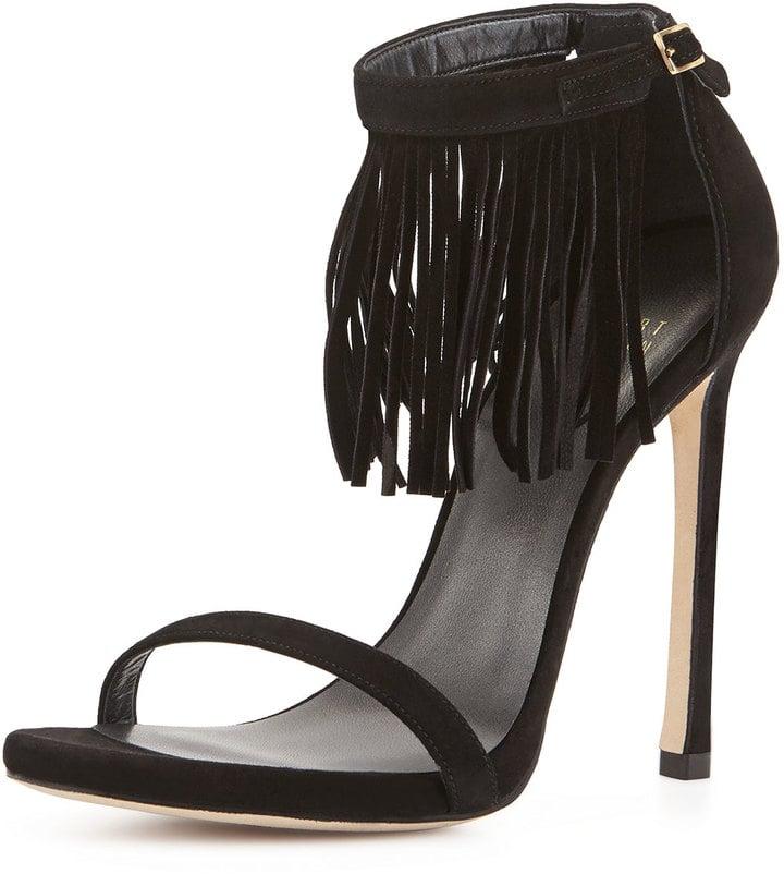 Stuart Weitzman Lovefringe Suede Sandal, Black ($227, originally $455)