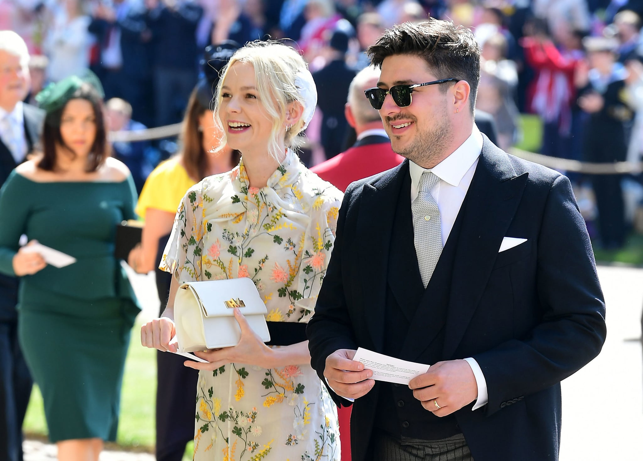 British musician Marcus Mumford and British actor Carey Mulligan arrive for the wedding ceremony of Britain's Prince Harry, Duke of Sussex and US actress Meghan Markle at St George's Chapel, Windsor Castle, in Windsor, on May 19, 2018. (Photo by Ian West / POOL / AFP)        (Photo credit should read IAN WEST/AFP via Getty Images)