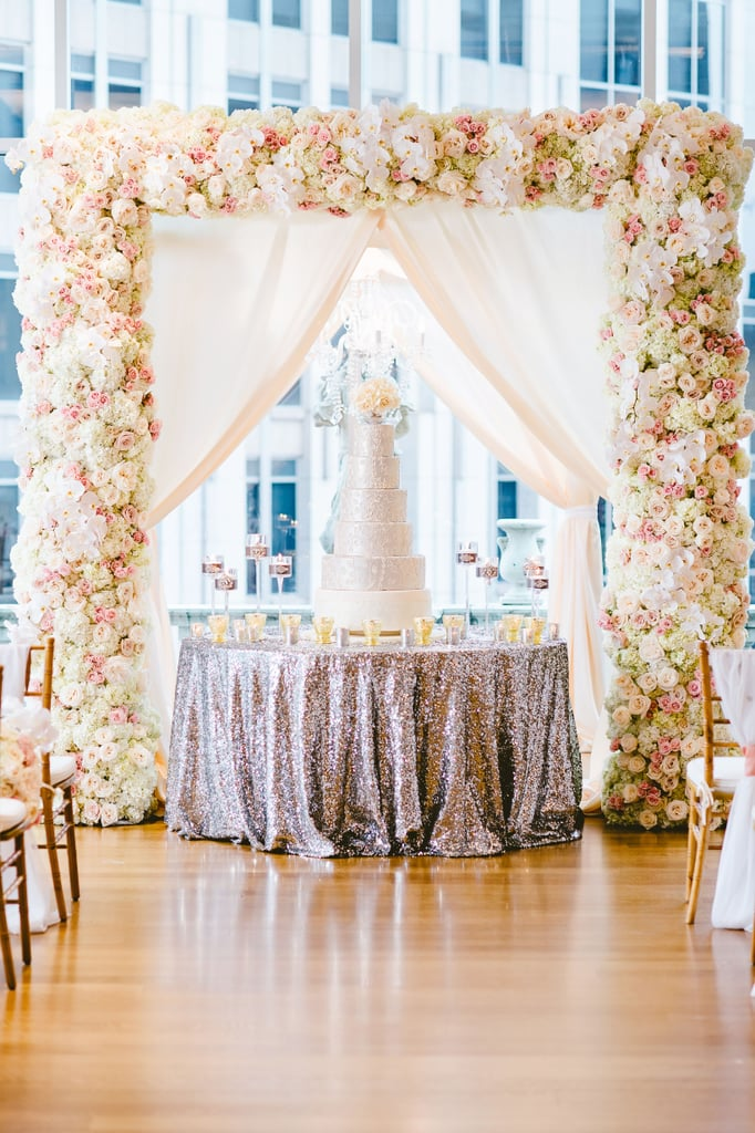 Add drama with a contrasting colored tablecloth on your cake table.